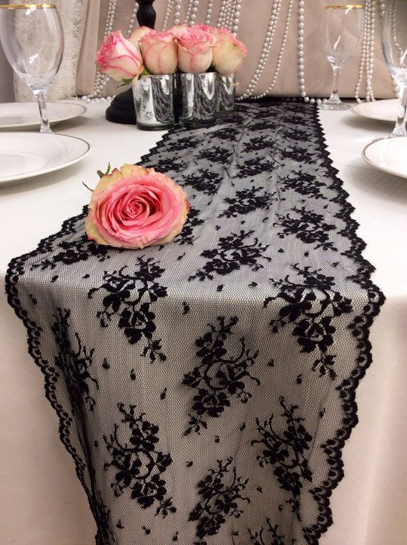 8ft Black Lace Table Runner wedding Runner 105in Wide x 96in Long