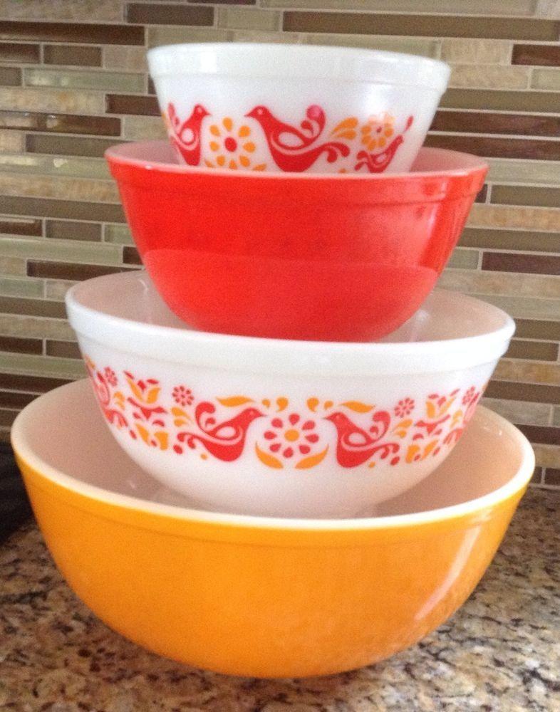 Pyrex Friendship Mixing Bowl Set 401-404 VGC | Pyrex, Mixing bowls ...