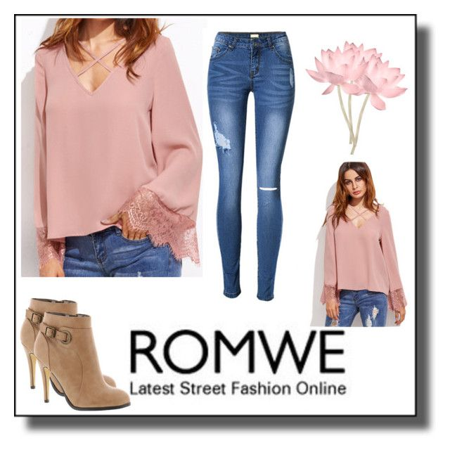 """ROMWE-Pink Shirt 👚"" by neesyrn ❤ liked on Polyvore featuring Michael Antonio"