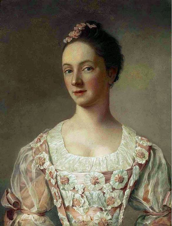 Portrait of a young lady, bust-length, in a pink dress decorated with rosettes, by Jean-Etienne Liotard (1702-1789).