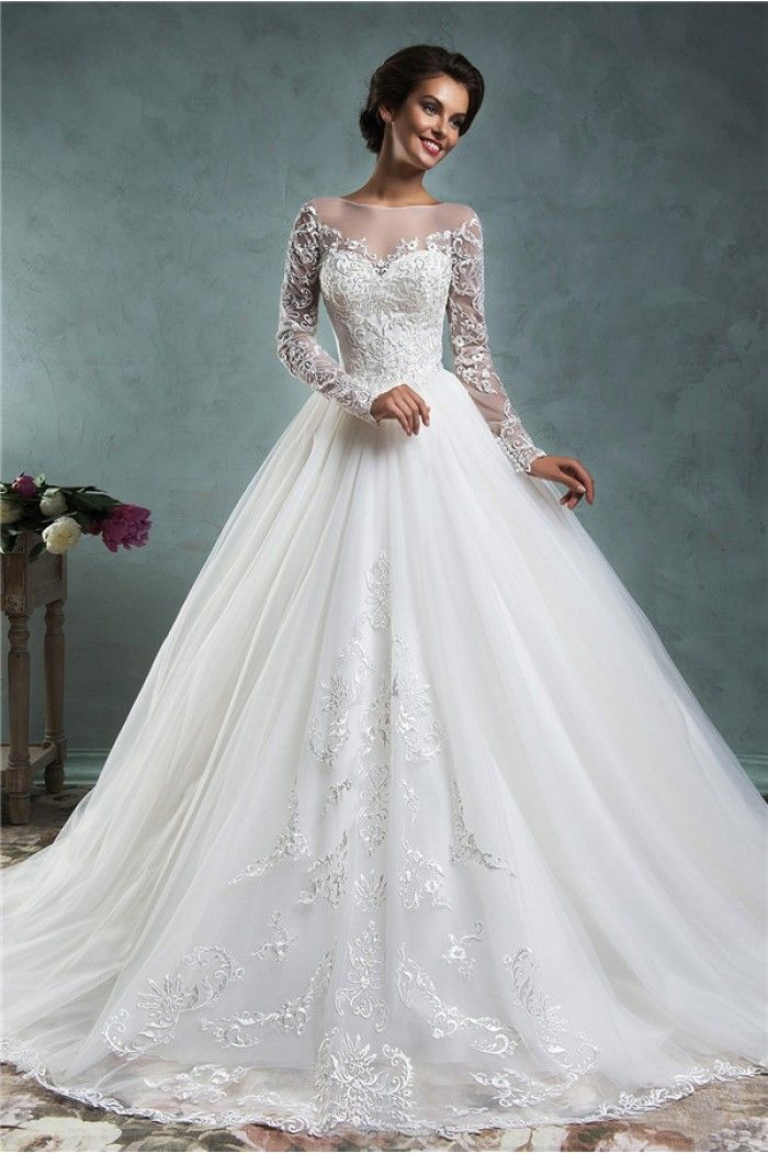 Fairy Ball Gown Illusion Neckline Long Sleeve Tulle Lace Wedding Dress With Buttons