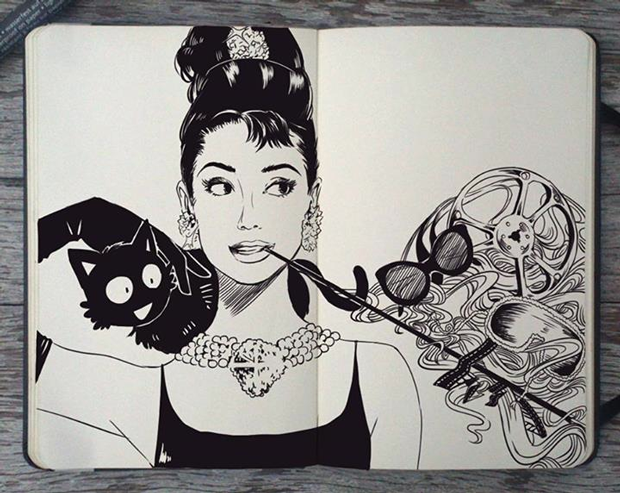 Sketchy Stories by Kerby Rosanes. Audrey Hepburn. | doodle goals ...