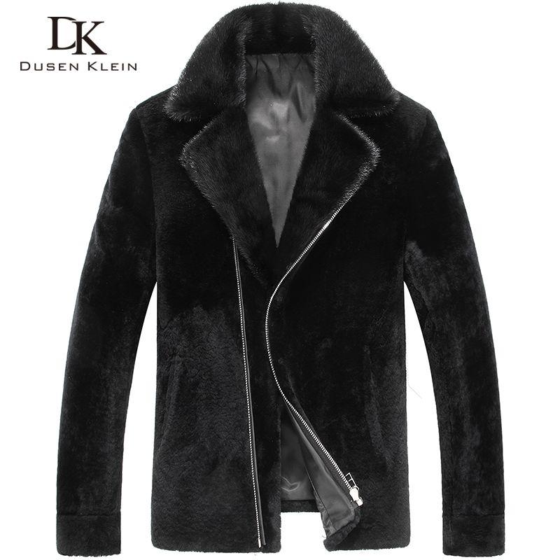 0cfaefb66c004 Dk marka erkekler hakiki yün kürk ceket kış giyim vizon kürk  collarblack/ince/basit
