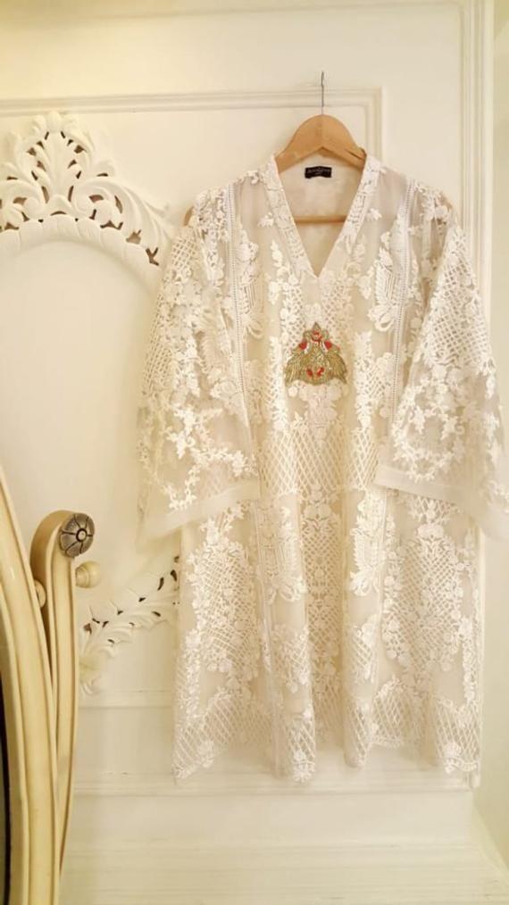 Pure Chiffon White Embroidered Shirt, Agha Noor Kurti, Pakistani Dress, Indian Dress