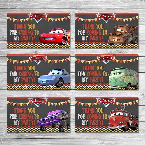 Disney Cars Party Tags Chalkboard - Cars Goody Bag Tags - Disney