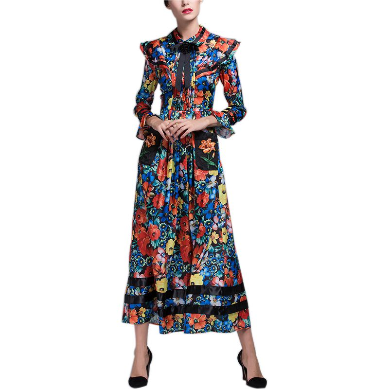 >> Click to Buy << 2017 Top Fashion Summer Women Elegant Flower Printed Cute Dresses Flare Sleeve Bohemian Retro Dress Plus Size XXXL Long Vestidos #Affiliate