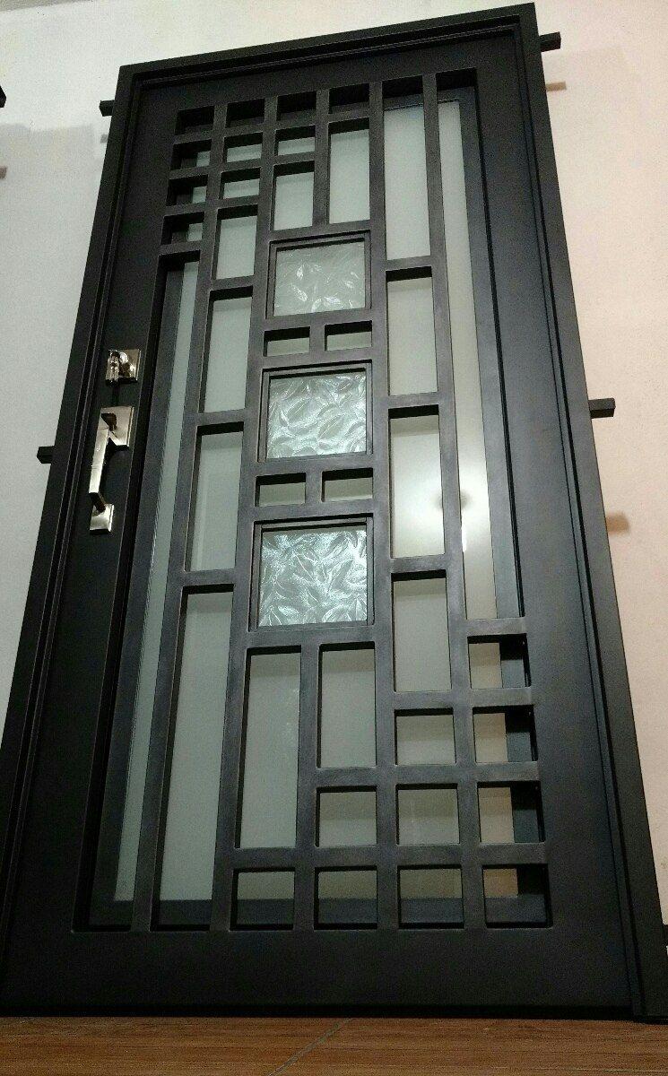 Puerta principal herrer a forja doble vidrio cocinas for Puertas de metal con vidrio