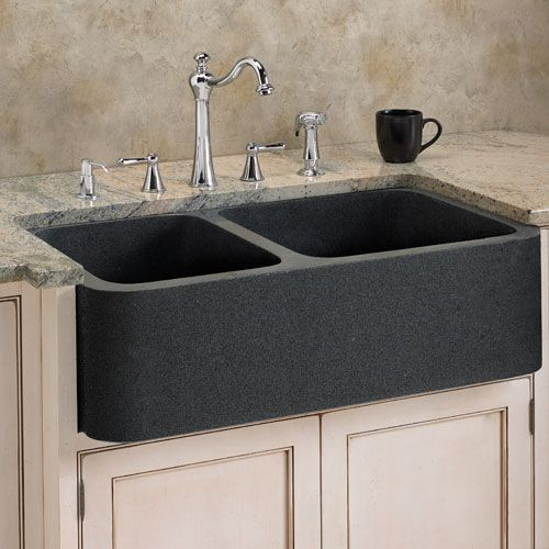 "33"" polished granite 60/40 offset double-bowl farmhouse sink"