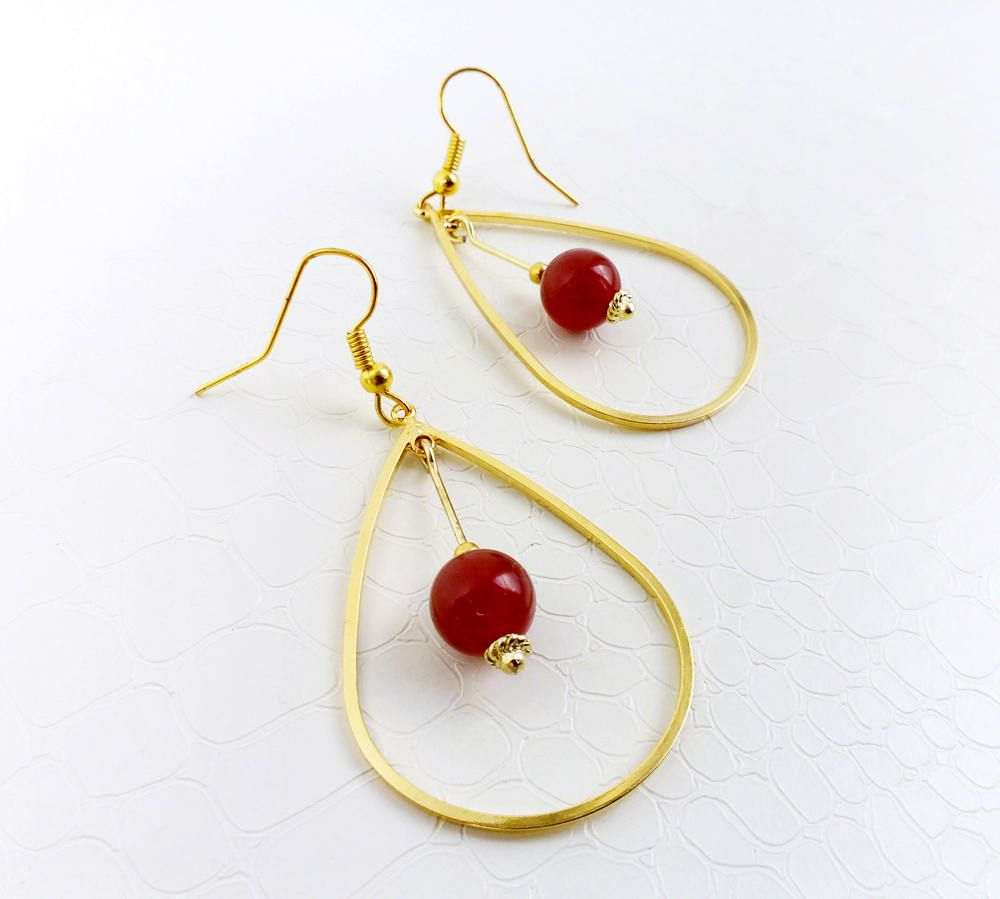 Red jade gemstones and gold earrings  by MercysFancy on Etsy