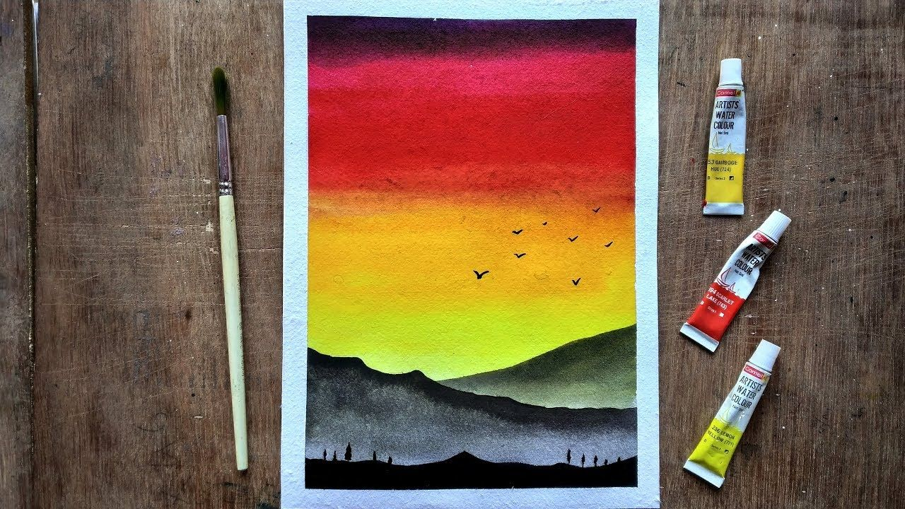 Sunset Landscape For Beginners Using Watercolors Step By Step