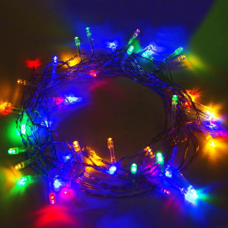 Aleko Solar Multicolored 50 Led Holiday String Lights Lot Of 2 Multicolor Multi Plastic