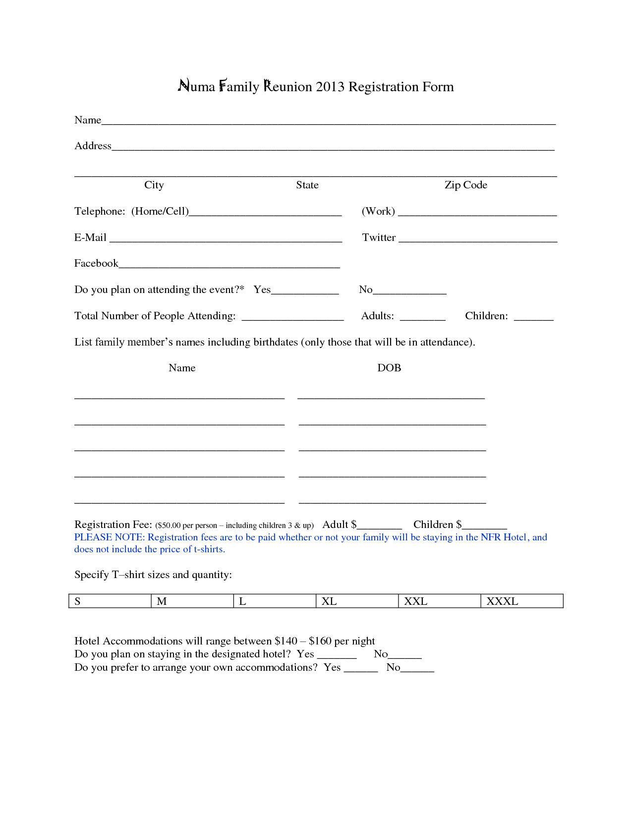 Family Reunion Registration Form Template  Family Reunions