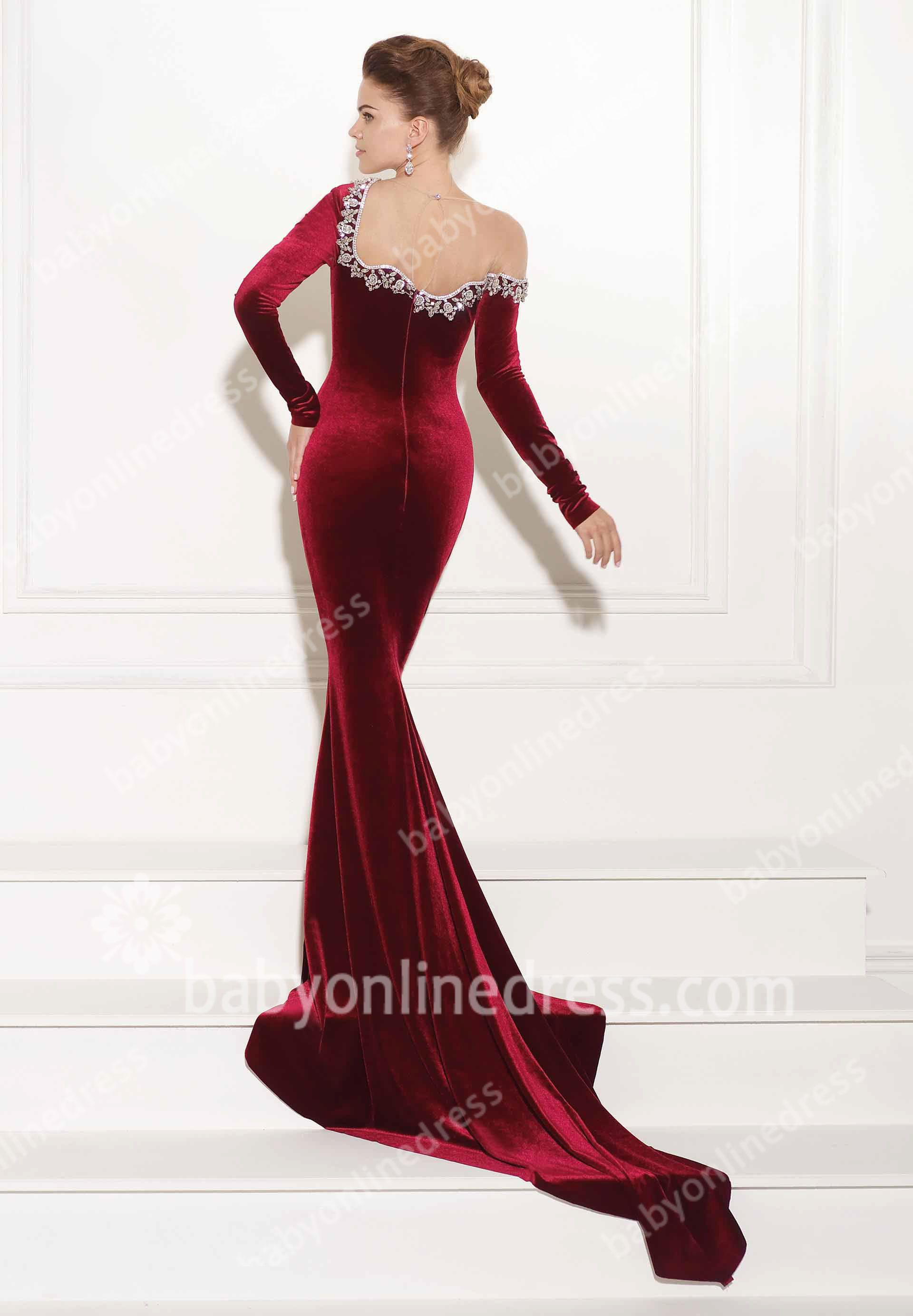 Swan velvet evening dresses off the shoulder long sleeve winter