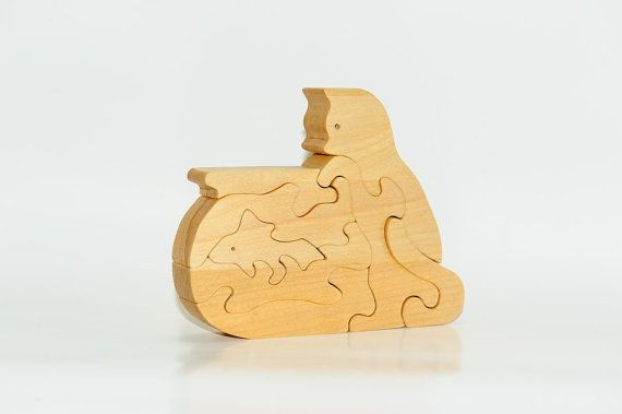 Wooden Puzzle Kitten Naughty Catches Fish In by Ecopuzzle on Etsy
