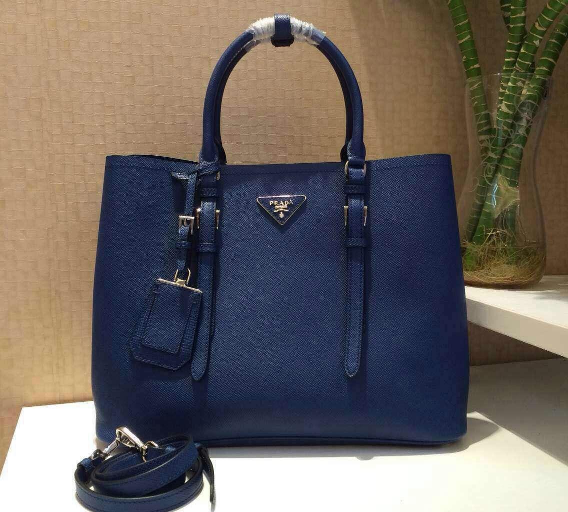 cd59fc4c5e26 Prada BN2838 Saffiano Cuir Leather Double Bag Blue