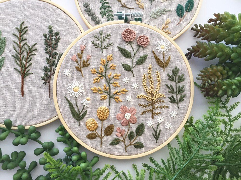 Floral embroidery hoop art, vintage botanical plants embroidery cross stitch, nature vintage flowers, botanical wildflowers hand embroidery