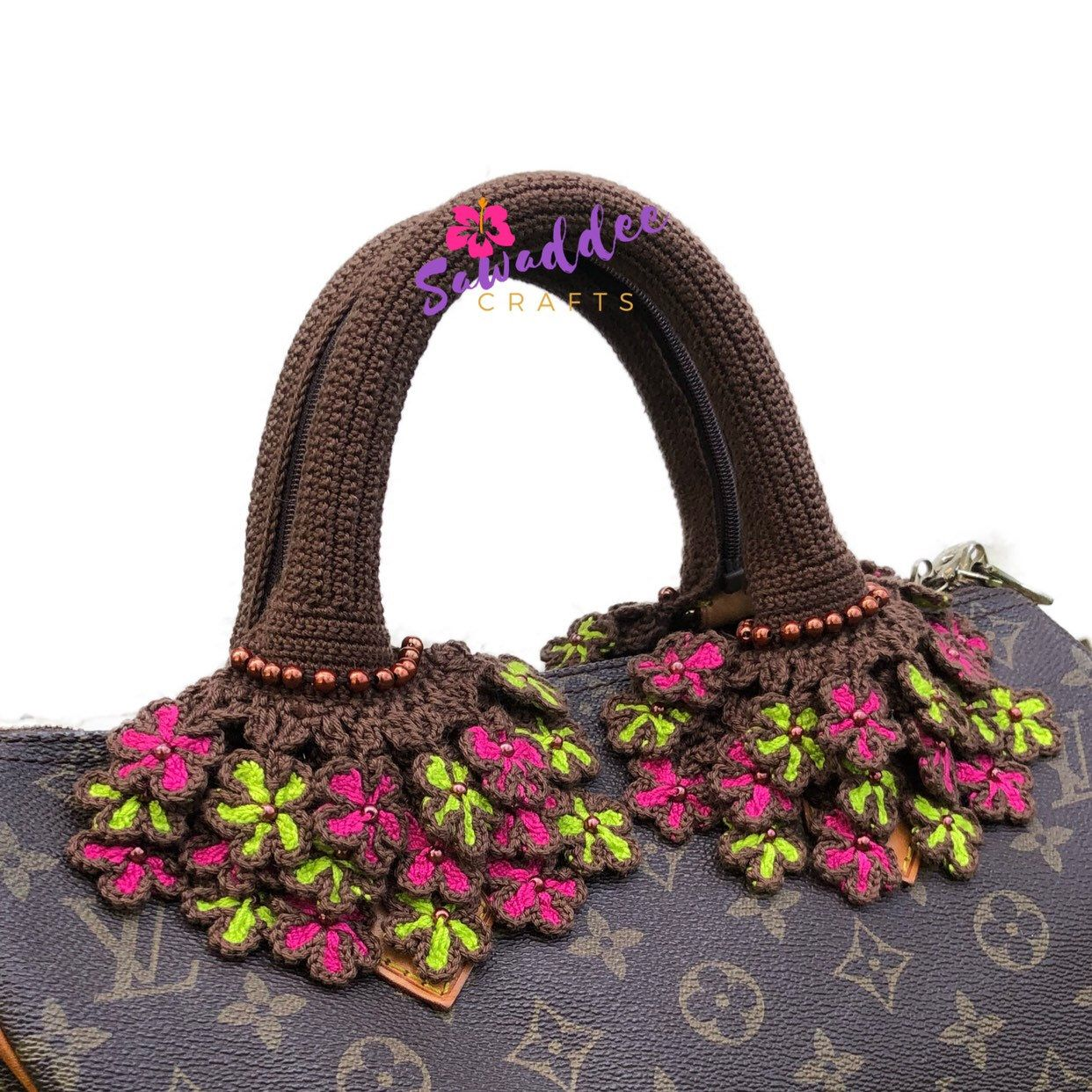 Ready To Ship Dark Brown Handmade Crochet Bag Handle Cover