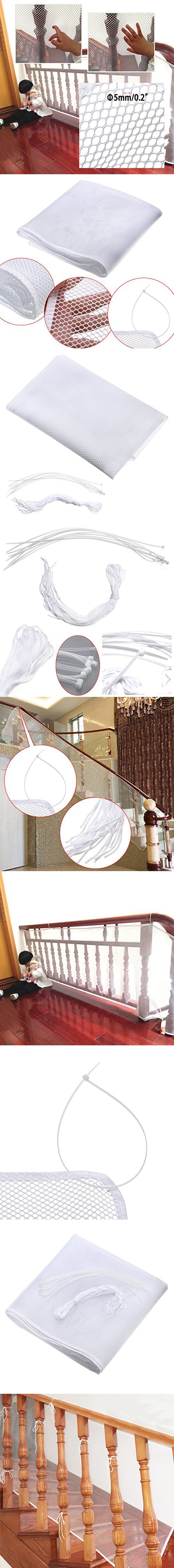 Hipiwe Safe Rail Net 10ft L X 2.5ft H Indoor Balcony And Stairway Railing  Safety