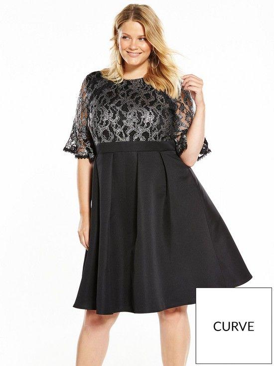 b5248eb6e35 Little Mistress Curve Baroque Lace Skater Dress - Black