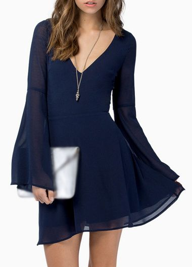 Navy Blue V Neck Long Sleeve Chiffon Dress  ac6ee0a61