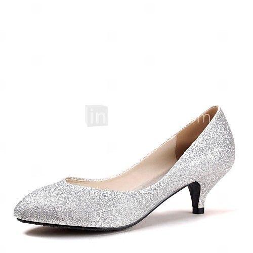 Women S Spring Summer Fall Glitter Wedding Kitten Heel Blue Purple Red Silver Gold