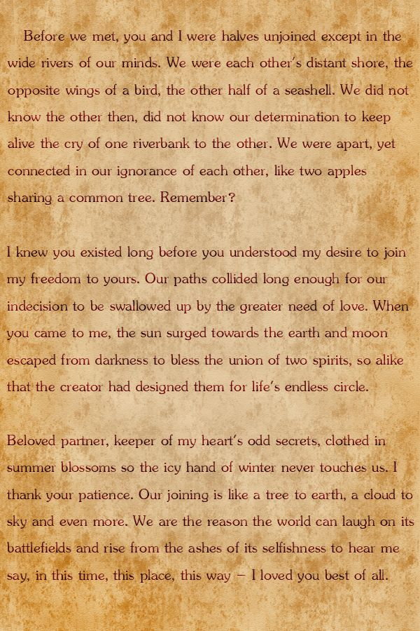 Ancient Hawaiian Marriage Prayer The Words Dave Said To Me On Our Wedding Day