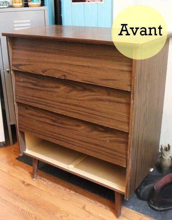 MATÉRIEL UTILISÉ Un meuble en mélamine Pinceaux Apprêt (2 couches - relooker un meuble en pin