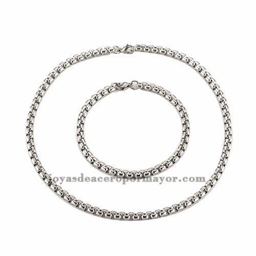 93381cfaf582 juego de cadena de collar y pulsera plateada en acero quirurgico SSNEG50929