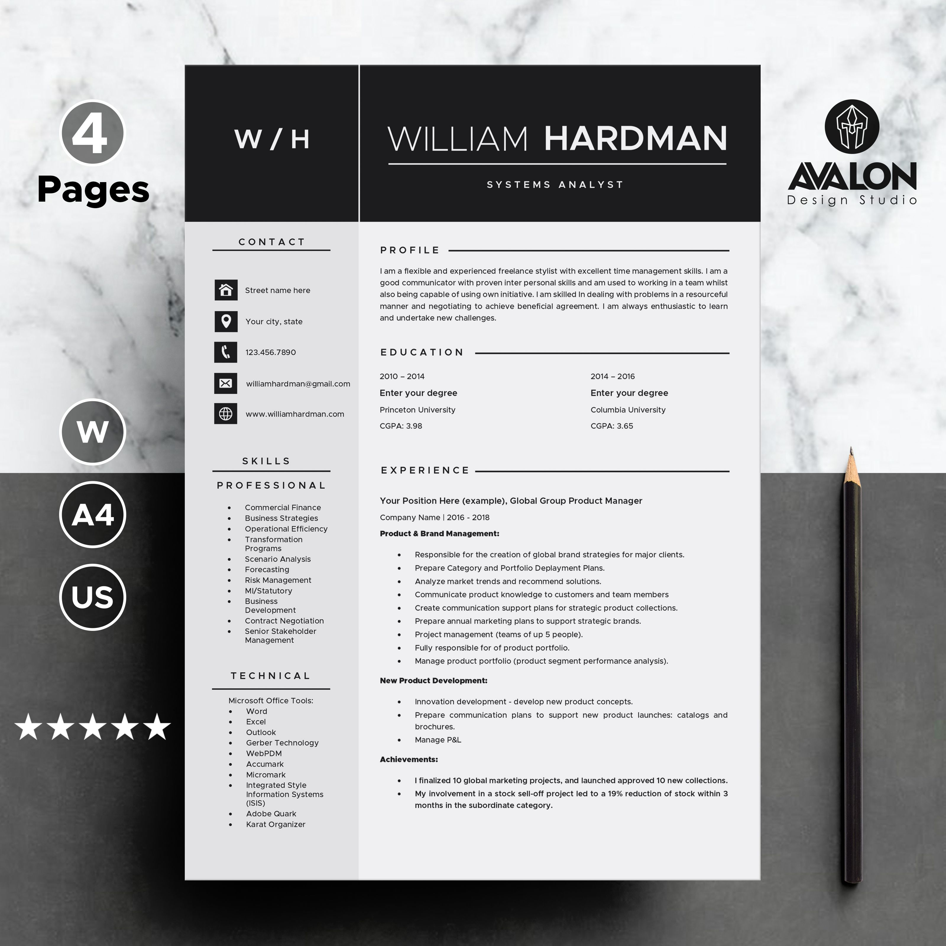 Resume template for MS Word 4 page Professional CV