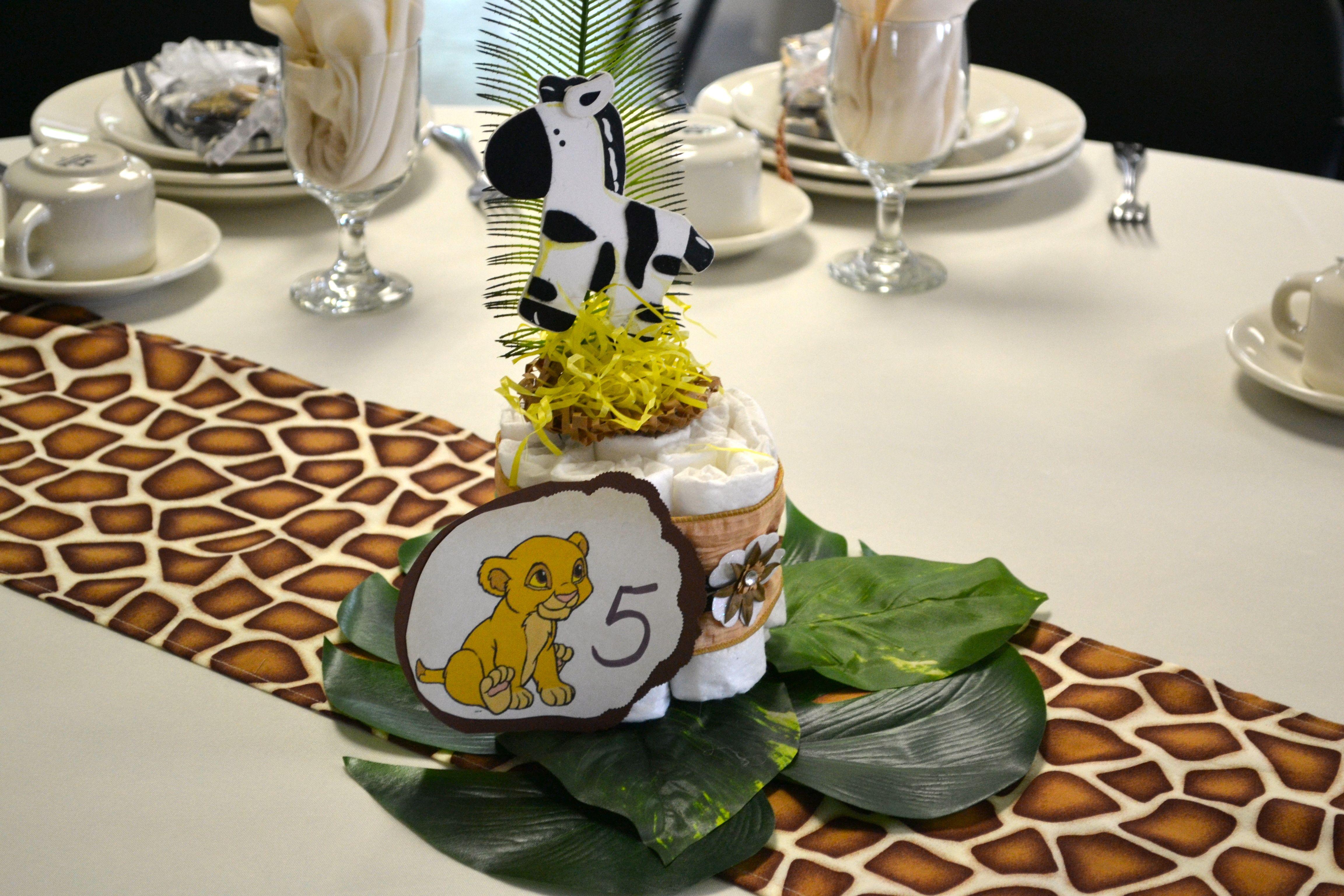 Diaper Cake Centerpiece Jungle Theme
