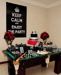 Resultado de imagen para decoracion de mesa para fiesta de hombre