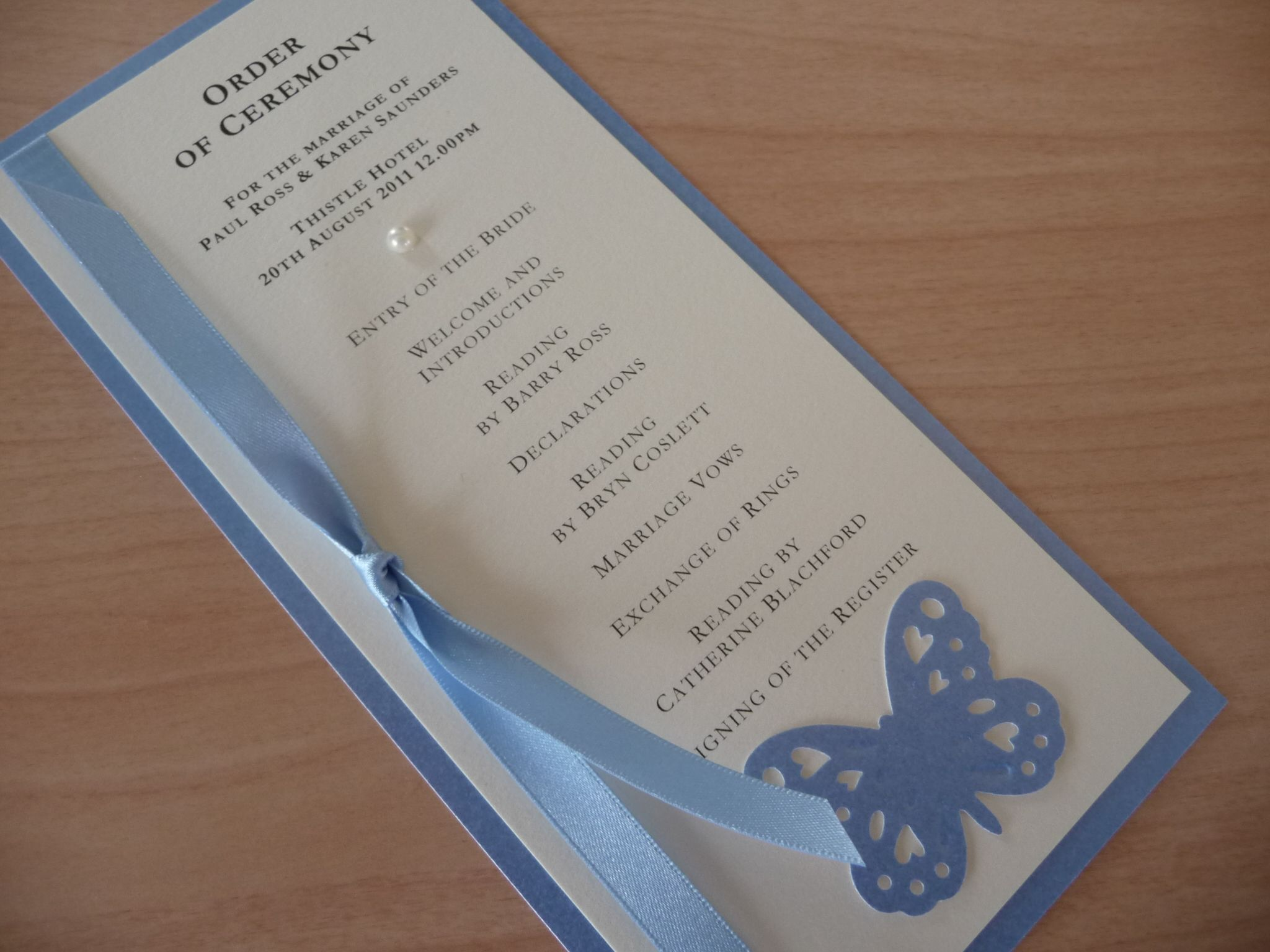 Wedding Invitations Manchester: Ivory & Cornflower Blue Order Of Ceremony Cards With A