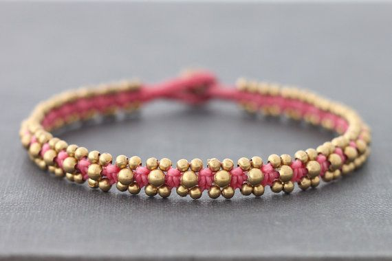 Pink Beaded Brass Anklet