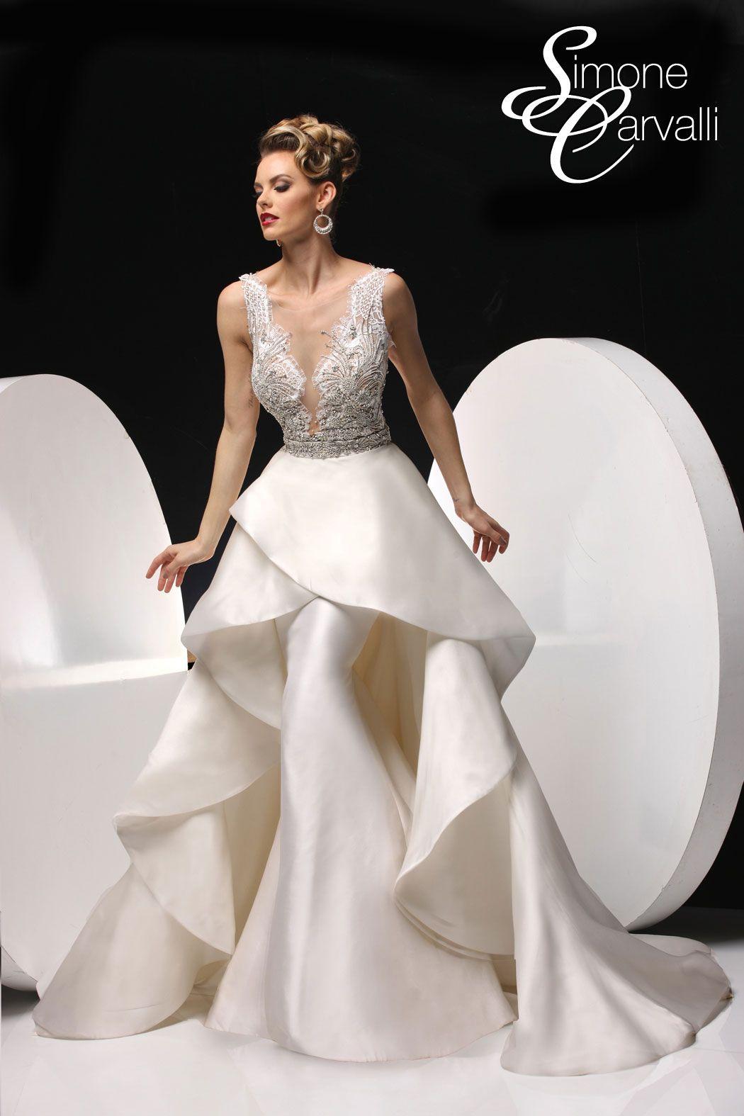 Detachable skirt wedding dress  Simone Carvalli  w Detachable Skirt wedding dress