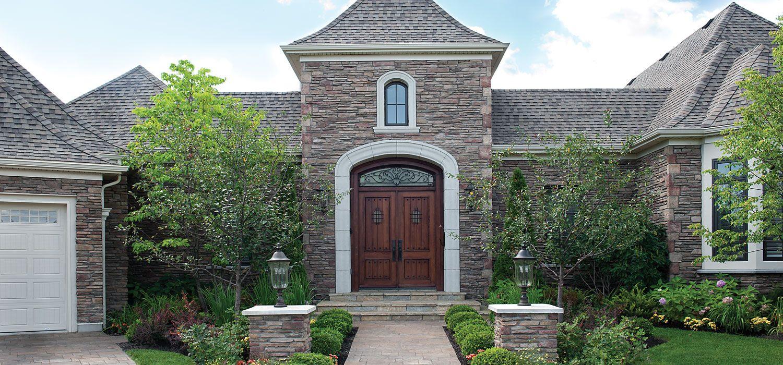 Home exterior entrance blend chardonnay southern for Castle modular homes