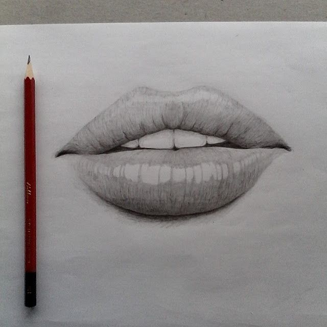 Pencil drawing of lips
