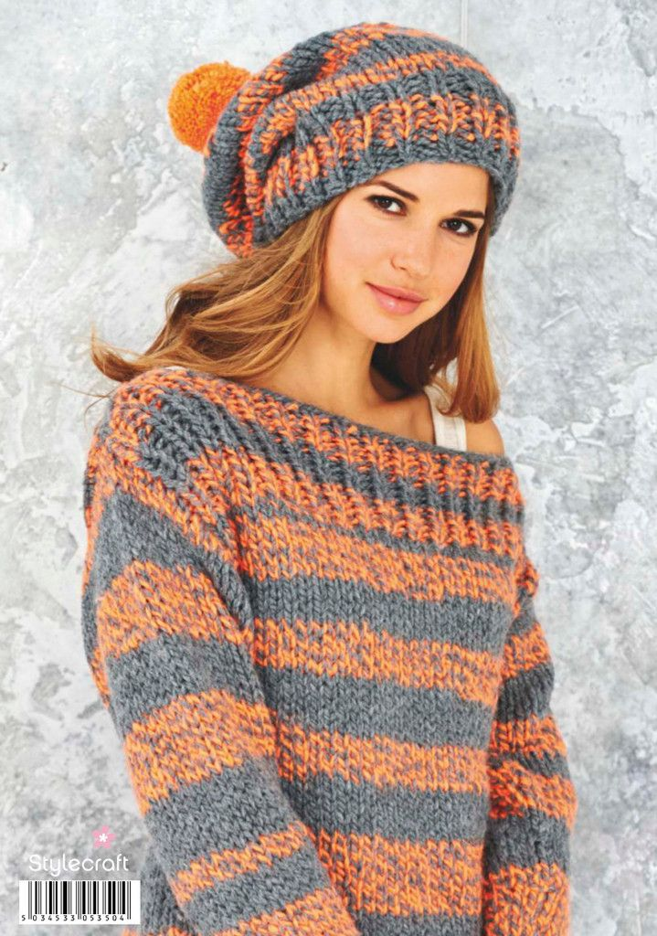 Boyfriend Sweater And Beanie Hat By Stylecraft - Purchased Knitted Pattern - (patternfish)