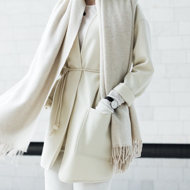 cream on cream // scarf & belted coat #style #fashion
