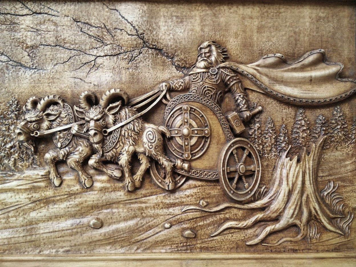 Thor The God Of Thunders Norse Mythology Woodcarving Pagan Etsy Carving Norse Mythology Vikings