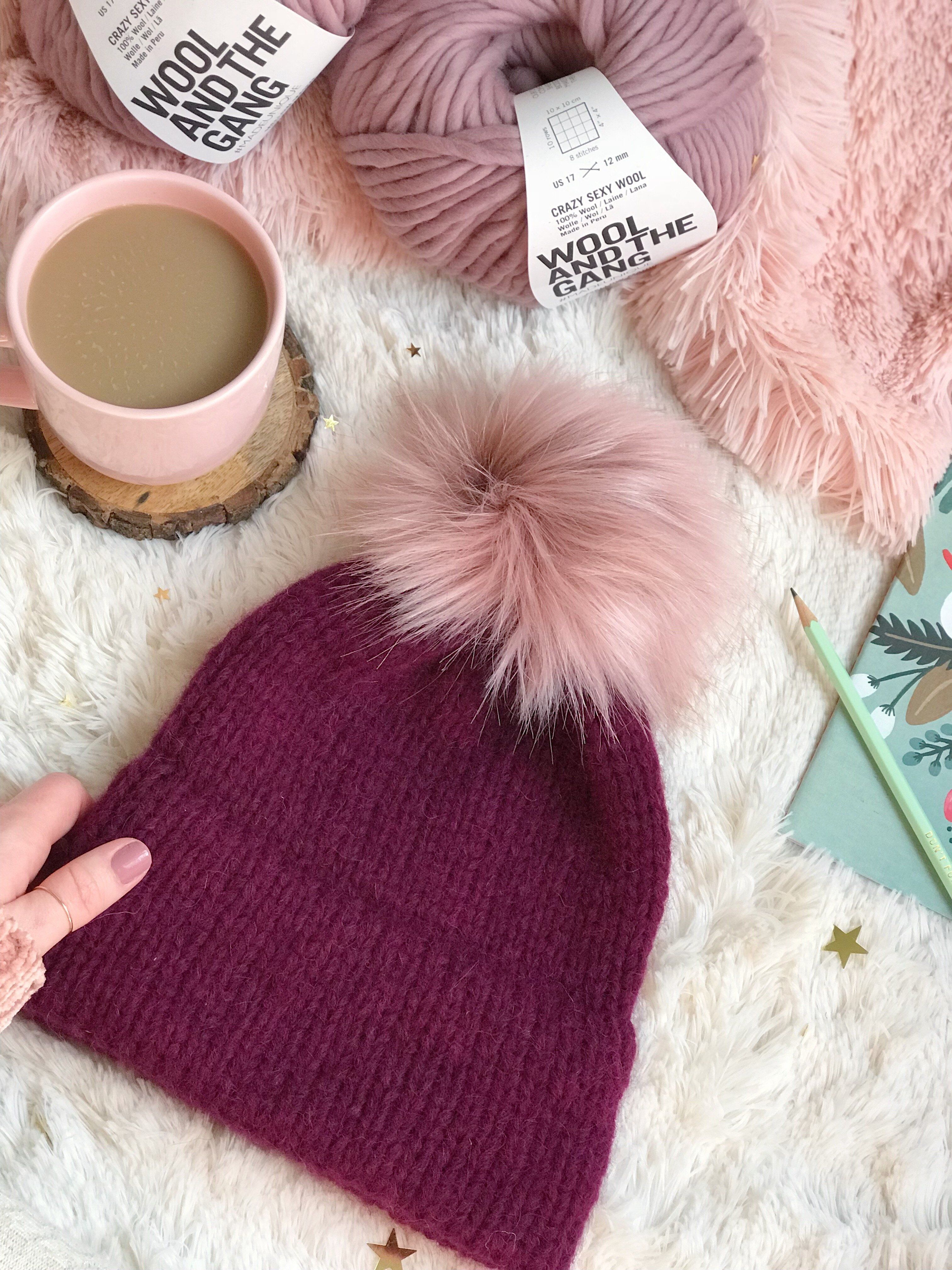 ebca4ebca Margaux Adult Knitted Double Brim Beanie with Pink Moscato Faux Fur ...