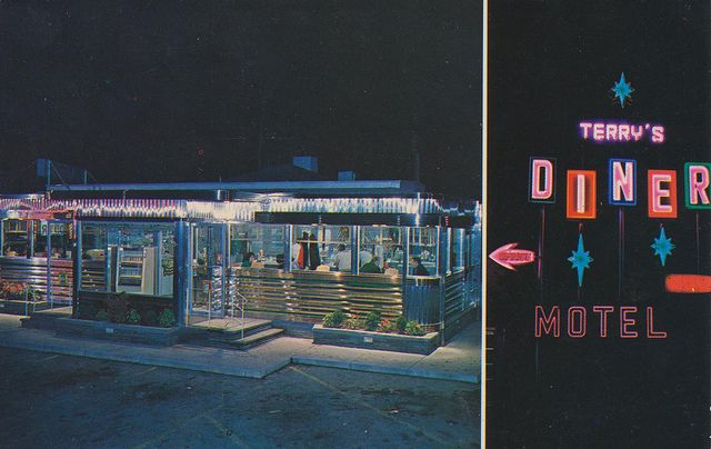 Terry S Diner Motel Moosic Pennsylvania Postcard Diner