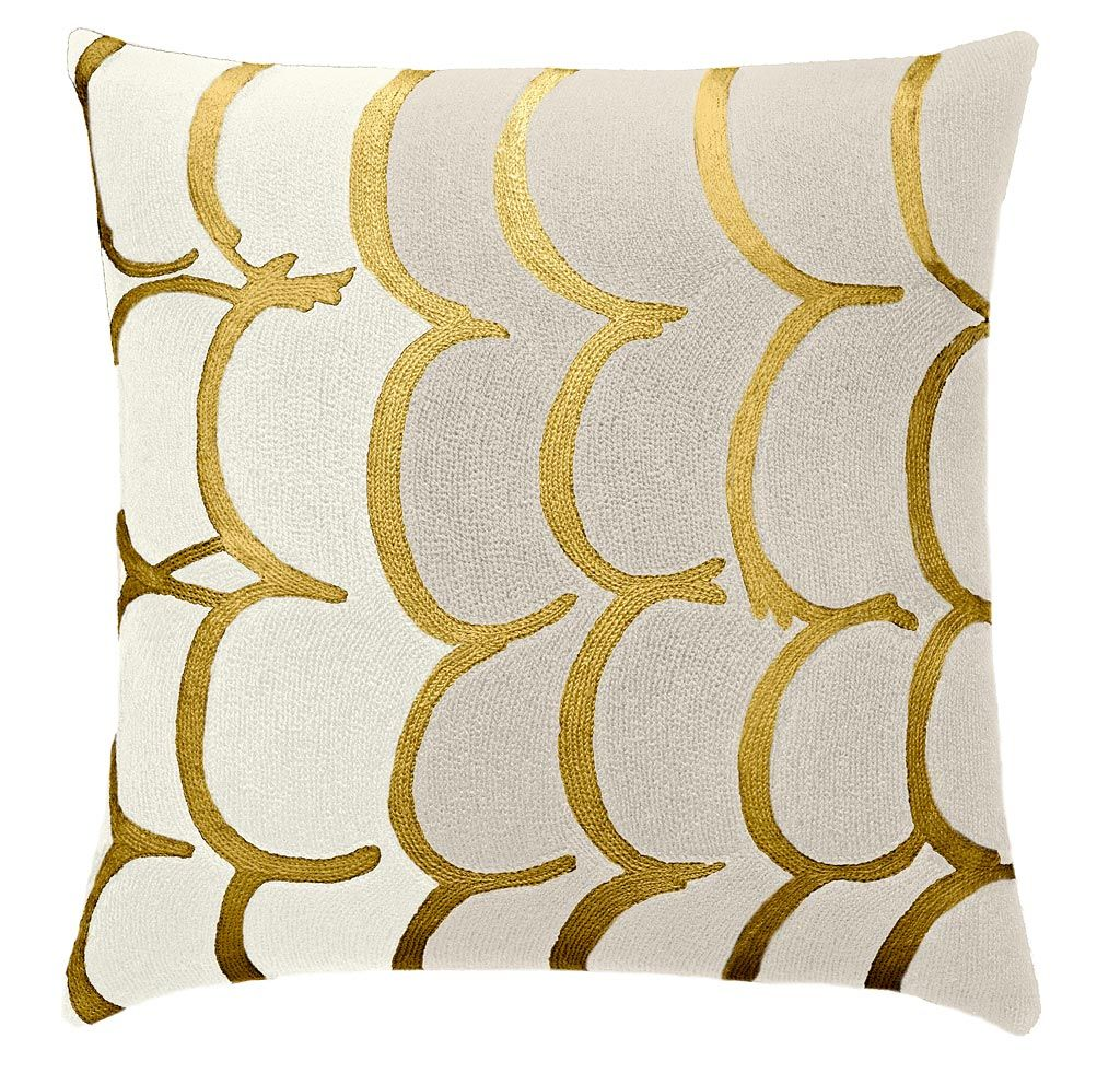 Judy Ross Textiles Hand-Embroidered Chain Stitch Bangle Throw Pillow cream/oyster/gold rayon