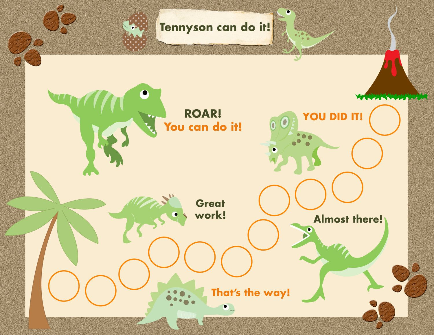 Printable Reward Chart for Children Personalized - Dinosaur ...