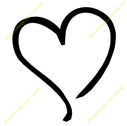 Heart clipart heart tilted to the left keywords one for Black heart outline tattoo meaning
