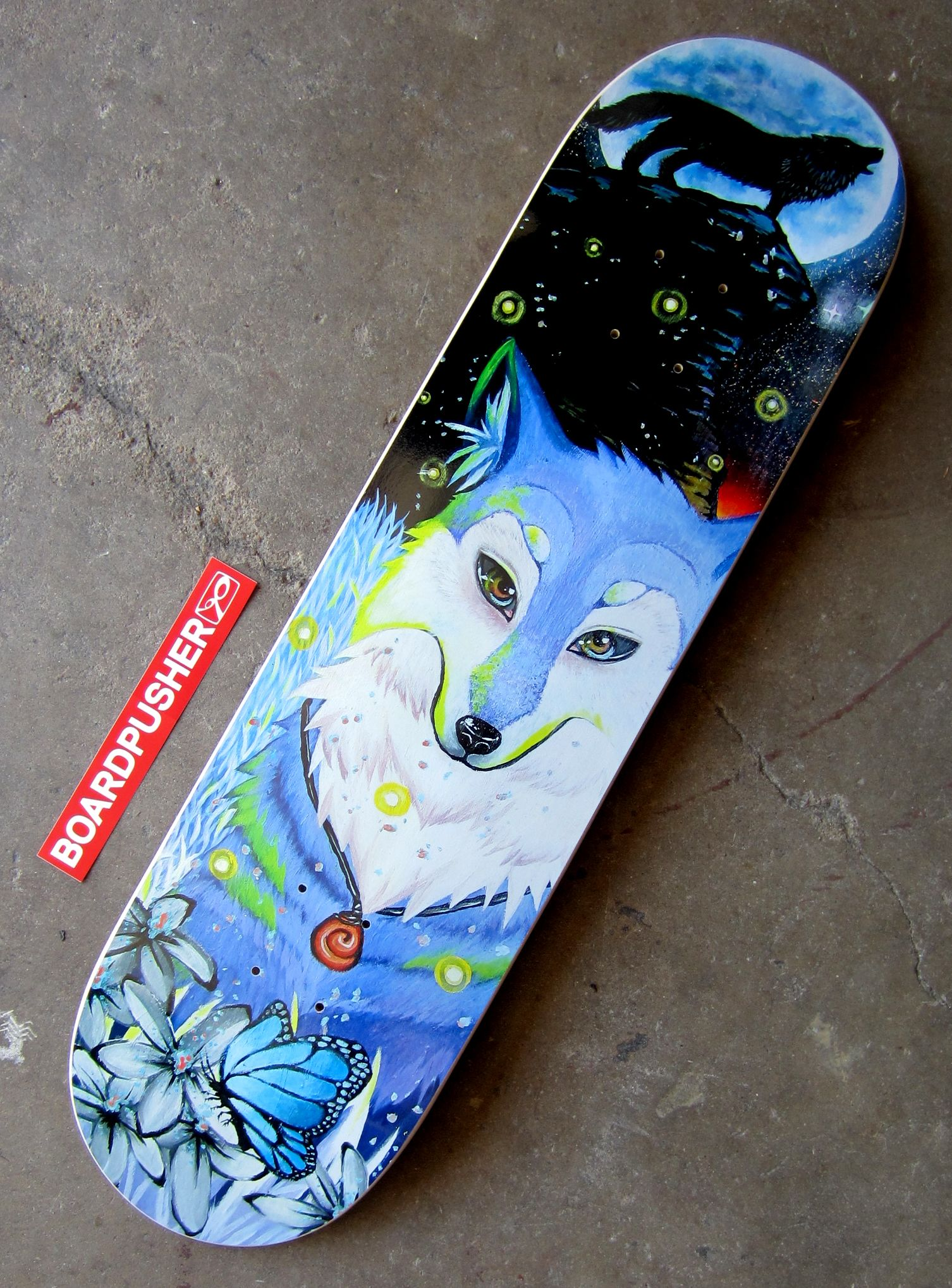 Here's another painting turned skateboard graphic from a