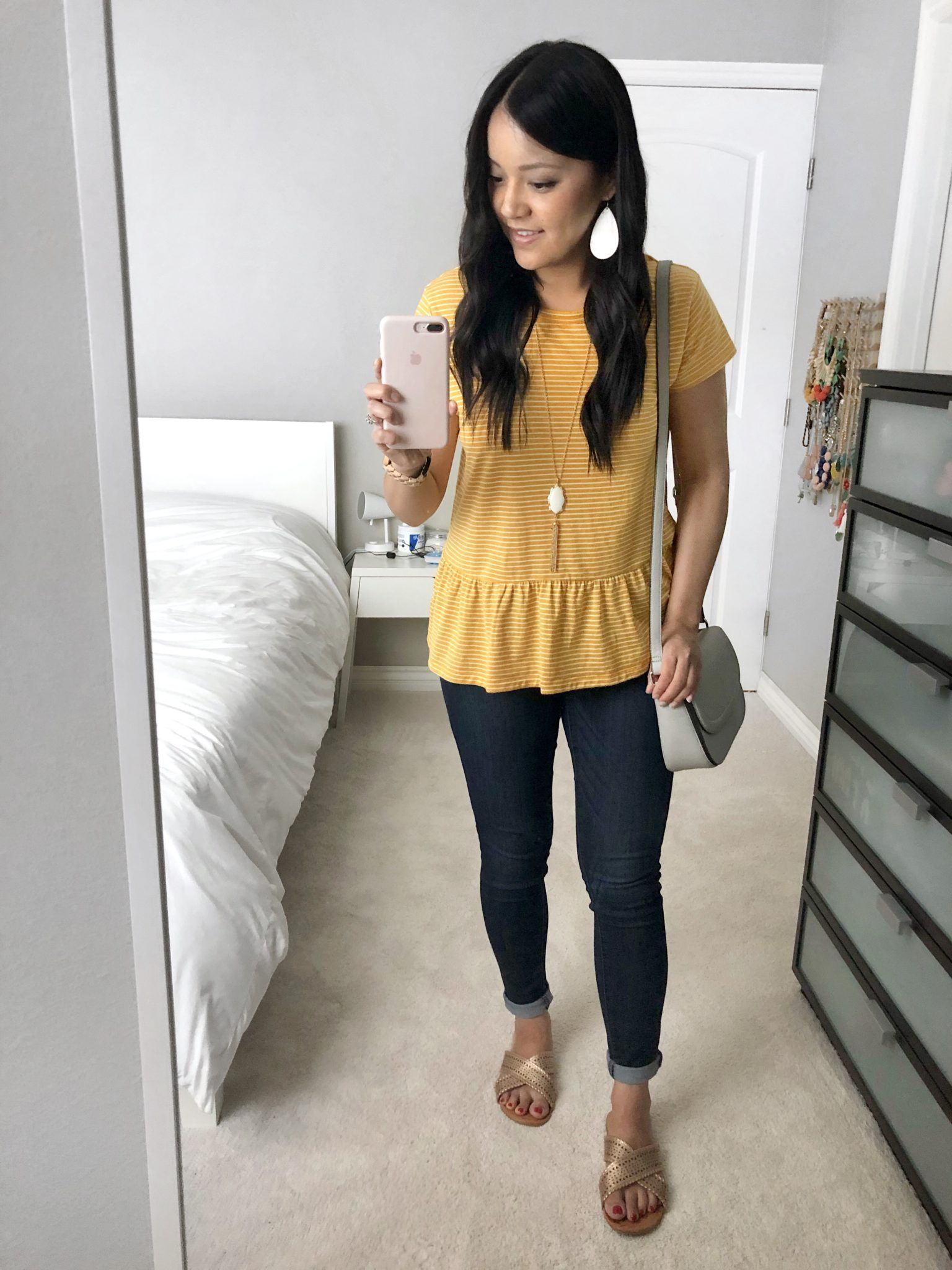 Summer Outfits: Super Comfy and Affordable Tees Yellow Peplum Top and Jeans Outfit
