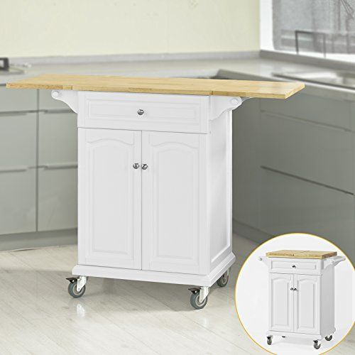 SoBuy Kitchen Trolley With Extendable Worktop Storage Cart Dining Bar Table