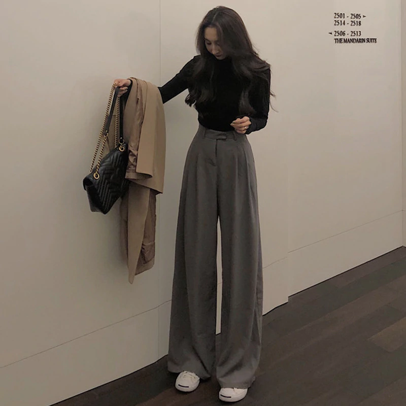 Photo of US $13.7 40% OFF|Mazefeng 2019 Spring Autumn Female Solid Wide Leg Pants Women Full Length Pants Ladies High Quality simple Casual Straight Pants|Pants & Capris|   – AliExpress