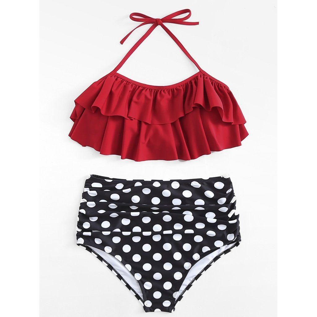 b3ea7855a853 Maddie Polka Dot Ruffle Bikini Set | Traje de bano en 2019 | Trajes ...