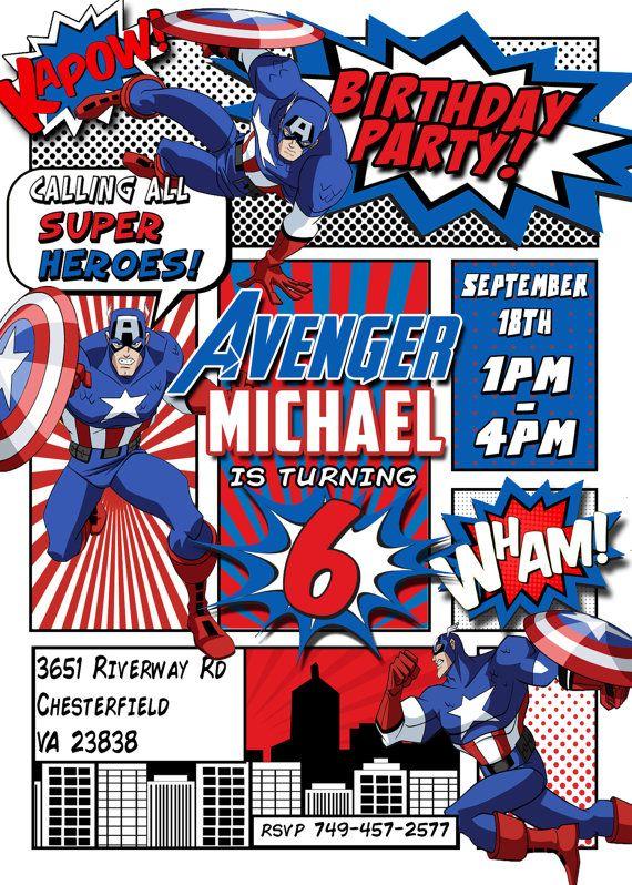 Captain America Invitation Avengers Invitation Captain